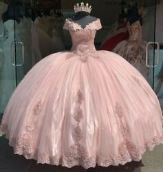 Modest Ball Gown Pink Quinceanera Dresses Off Shoulder Appliques Sweet 16 Party $134.99