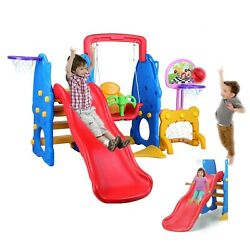 Toddler Slide amp; Swing Set Kids Playset Playground Toy w Basketball Hoop Boy Girl $189.90