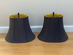 BELL OVAL LAMP SHADES with FINIALS and HANGERS black yellow SET PAIR 2 $49.99