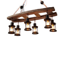 34quot; W Island Industrial 6 Heads Wood Hanging Pendant Ceiling LED Chandelier Lamp $139.00