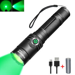400 Yards Hunting Tactical Green Light Rechargeable LED Flashlight 18650 Torch $17.94