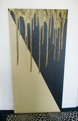 NEW ABSTRACT LARGE ART ACRYLIC PAINT WRAP CANVAS CELLS BLACK BEIGE GOLD SIGNED $325.00