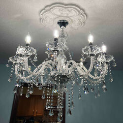 Ridgeyard 10 Arms K9 Chandelier Crystal Ceiling Pendant Light Cognac Color $108.99