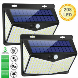 2 Packs 208LED Solar Lamp Light PIR Motion Sensor Outdoor Wall Waterproof Garden
