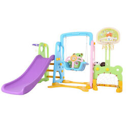 5 In 1 Kid Indoor And Outdoor Slide Swing And Basketball Football Baseball Set $196.99