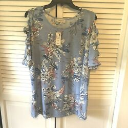 AVENUE Tropical Blue Floral Print Cage Sleeve Top Size 14 16 $19.99