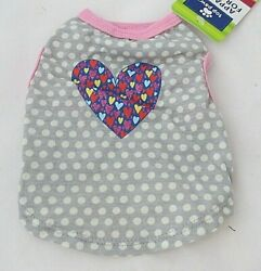 Top Paw Dog Shirt Colorful Glitter Heart Gray White Polka Dot Size Small NWT New $8.25