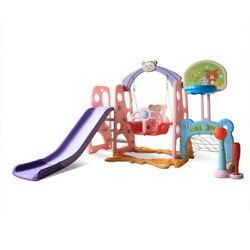 6 In 1 Kids Indoor And Outdoor Slide Swing And Basketball Football Baseball Set $146.99