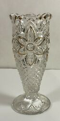 Antique Glass Vase With Gold Accents on Scalloped Top amp; Flowers 1910 1920 $28.00