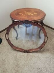 Antique Table With Removable Glass Serving Tray. Great condition. $450.00
