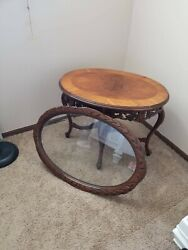 Antique table with Glass Serving Tray. Great condition. $450.00
