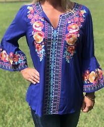 Andree by Unit Royal Blue Embroidered Floral Boutique Top Blouse Small NWT SALE $22.99