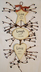 quot;LIVE LAUGH LOVEquot; Rustic Country Wood and Pip Plaque Inspirational home décor $5.95