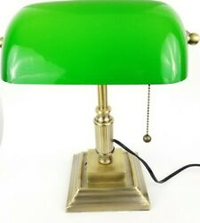 Retro Bankers Traditional Desk Lamp Brass Gold Tone Green Glass Shade Tested $47.98