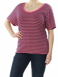 TOMMY HILFIGER Womens Pink Striped T Shirt Top 2X Plus $2.99