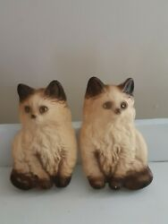 Set of vintage wall cat figurine 7.5X5 inches beige and Brown C $22.99