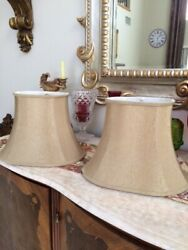 Gold Beige Shine Fabric Pair Oval Bell Lamp Shades 11quot; by 15 1 2quot; $50.00