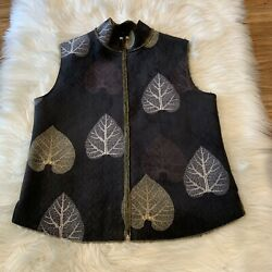 Robert Kitchen Canada Size S P Black Leaves Vegan Shearling Vest ART TO WEAR $41.99