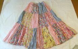 Calico maxi length Texas vintage prairie skirt pleated pink blue yellow Small $35.00