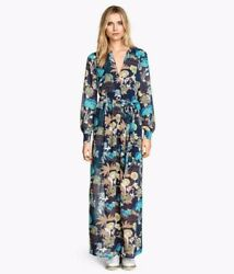 Hamp;M Conscious Collection Floral Boho Chiffon Long Sleeve Maxi Dress Size 6 $37.00