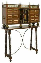 Antique Desk Spanish Vargueno amp; Console Table 19th C.1800s Brass Grill $5984.00