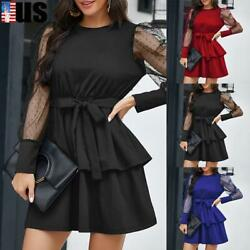 US Women Mesh Puff Sleeve Mini Dress Ladies Party Lace Up Ruffle Pleated Dresses $18.49