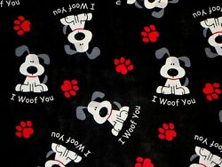 FAT QUARTER FABRIC DOG DOGS PUPPY HEART PAWS quot;I WOOF YOUquot; NOVELTY COTTON FQ $3.95