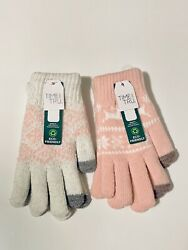 Lot 2 Time And Tru Holiday Gloves Thick amp; Warm Pink amp; White Teens Adults NEW $11.99