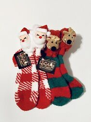 NEW Women's LEGALE Santa Claus amp; Reindeer Fuzzy Comfy Christmas Socks 4 10 LOT 2 $16.00