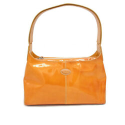 Orange Patent Leather TOD#x27;S Zip Handbag Shoulder Bag Excellent Condition $302.86
