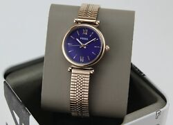 NEW AUTHENTIC FOSSIL CARLIE MINI ROSE GOLD PURPLE MESH WOMEN#x27;S ES4694 WATCH $54.99