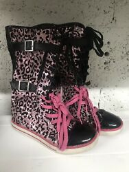 Justice Big Kids Girls High Top Sneakers Pink And Black Size 7 $25.00