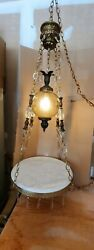 Antique Italian Hollywood Regency HANGING ITALY MARBLE TABLE LAMP Chandelier $499.00
