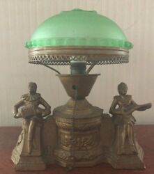 FRANK ART TABLE ANTIQUE LAMP WITH GREEN GLASS DOMED SHADE $575.00