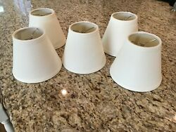 BALLARD DESIGN CHANDELIER SHADES LAMPSHADE Lot Set of 5 CREAM LINEN CLIP ON NEW $59.99