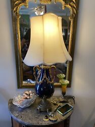 Antique Lamp Cobalt blue brass ornate rare $699.00