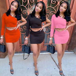 Woman One Shouder Crop Tops Bodycon Skirt Sets 2 Piece Cocktail Sexy Mini Dress $15.95