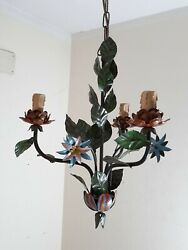 Vintage Chandelier Italian Iron Tole Floral Roses Hanging 3 Light $99.00