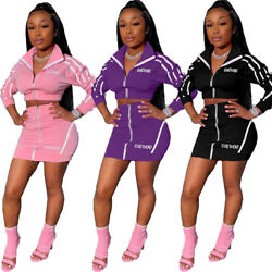 Woman Fall Long Sleeve Coat Bodycon Skirt Sets Sporty Club Sexy Dress 2 Piece $20.13