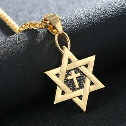 Gold Silver plated Christian Cross amp; Jewish Star of David Necklace Pendant Charm $9.95