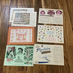 Lot Of 7 Vintage Paper Restaurant Placemats Zodiac Flower Yellowstone Flag $8.49