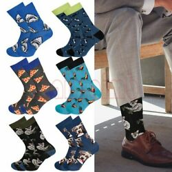 6 Pair Cool Colorful Fancy Novelty Funny Casual Combed Cotton Crew Socks Pack $16.29