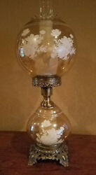 VINTAGE Hurricane Parlor Table Lamp Roses Flower Smoked Amber Glass Brass $99.00