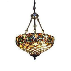 Tiffany Style Baroque Hanging Lamp Stained Glass 16quot; Shade Handcrafted $109.99