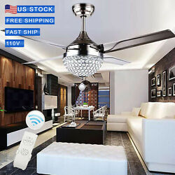 44quot; Crystal Ceiling Fan Light LED Chandelier Pendant Lamp Remote Stainless.Steel $102.60