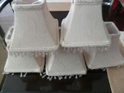 CHANDELIER LAMP SHADES IVORY BEADED SQUARE CLIP ON SET OF 5 NEW $29.50