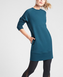ATHLETA WOMEN#x27;S TEAL LONG SLEEVE BOUNCE BACK SWEATSHIRT DRESS Sz XL $51.29