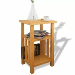 Side Table Narrow End Table w Magazine Shelf Chairside Console Table Solid Oak $65.95