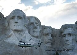 President Donald Trump PHOTO Marine One Helicopter Mount Rushmore Flyby $4.88