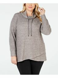 IDEOLOGY Womens Gray Heather Long Sleeve Cowl Neck Top Plus Size: 3X $8.80